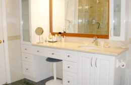 White Vanity with Laminate Counter Top