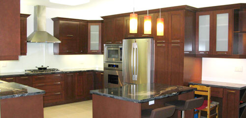 Solid Wood Kitchen Cabinet with Frost Glass