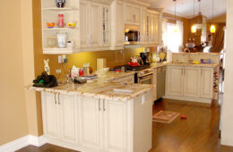 Solid Wood Kitchen Cabinet with Granite Counter Top